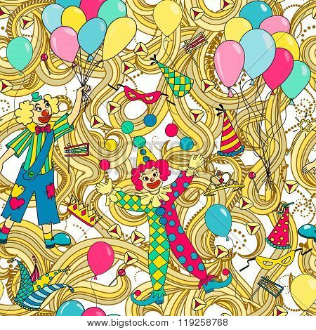 Purim Jewish holiday seamless pattern. Colorful background with clowns balloons carnival masks and hats candy and traditional cookies. Vector illustration.