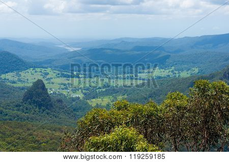 Beautiful wet tropical rainforest aerial view. Hiking in rainforest. Adventure rainforest Lamington National Park Queensland Australia