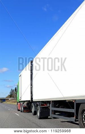 Cargo Truck With White Trailers On Motorway