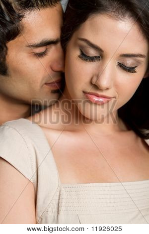 Young ethnic couple being in love with each other