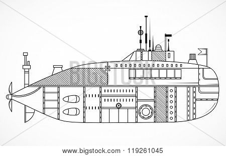 Submarine. Vintage black and white hand drawn vector illustration in line art style