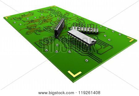 Transistors on the green plate on a white background