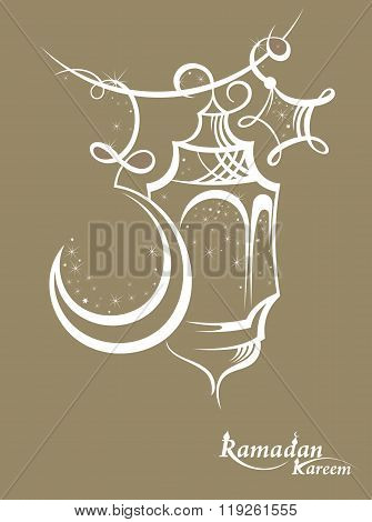 Illustration Ramadan Kareem Background with Lamps
