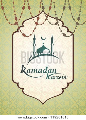Ramadan mosque with Ramadan Kareem