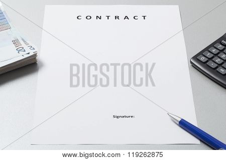 Contract Form With Pen Money And Calculator