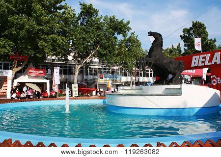 Novi Sad, Serbia: May 11, 2015 - Horse fountain on Agricultural Fair in Novi Sad