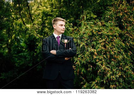 Portrait Of Stylish Groom In Park At Wedding Day