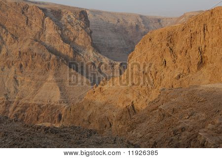 Cliffs Dragot, Salt and rocks at Dead Sea, Israel