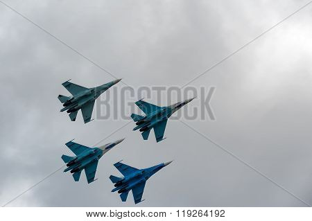 Team flight of russian pilotage team on SU-27