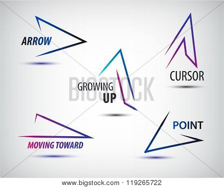 Vector set of line colorful arrows templates, arrow