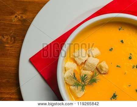Vegetable potage served in a white bowl