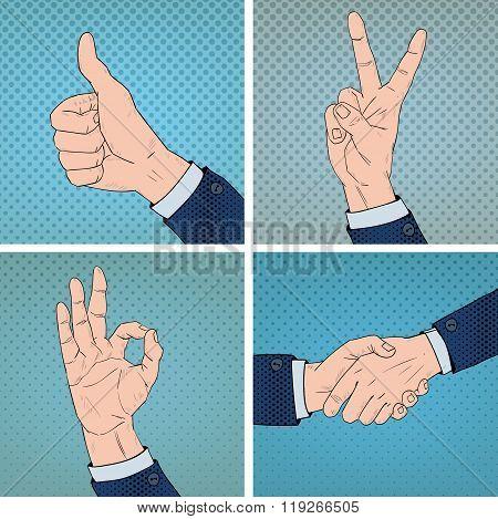 Hand Gestures Set In Comic Pop Art Style