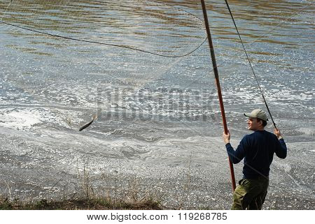 Man fishing in the swirling river. Caught perch.