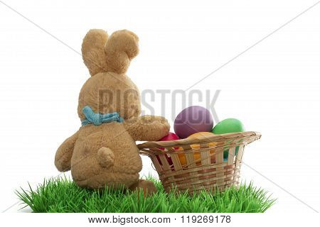 Easter Handmade Bunny With Eggs In Basket