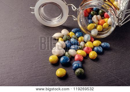 candy on a black board