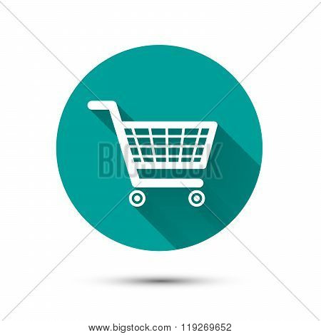 Shopping cart flat icon on green with long shadow