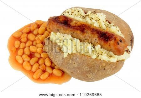 Baked Potato And Sausage With Baked Beans