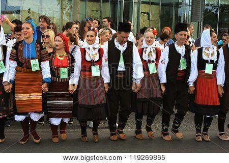 Novi Sad, Sebia: 4. October 2015. Folklore group from Serbia dressed in traditional clothing is pref