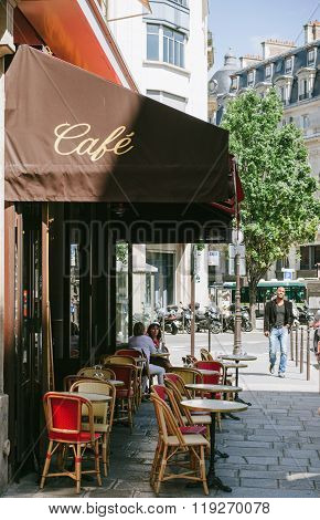 Traditional Cozy Cafe In The Central Paris