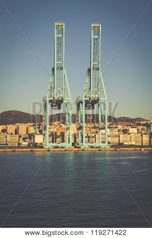 Algeciras, Spain - May 1,2013: Container Terminal In The Industrial Port Of Algeciras In, Andalusia,