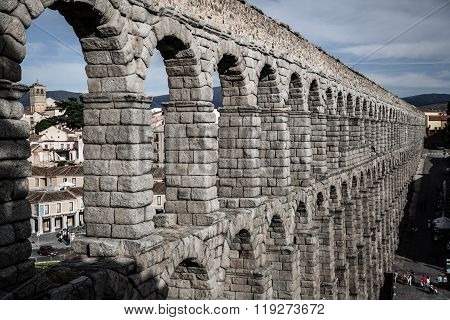 the Famous Ancient Aqueduct In Segovia, Castilla Y Leon, Spain.