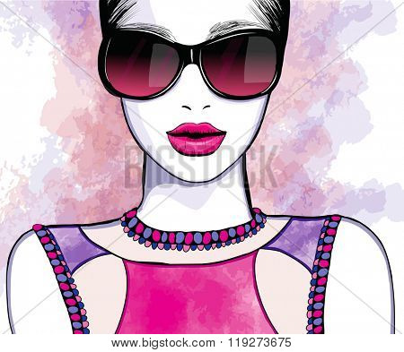 Young pretty woman with sunglasses - Vector illustration