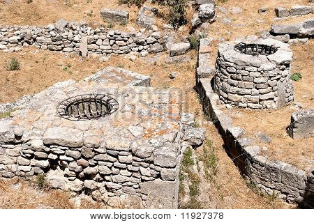 Ruins at ancient city of Troy in Turkey