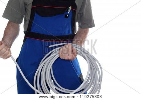 Worker And Cable
