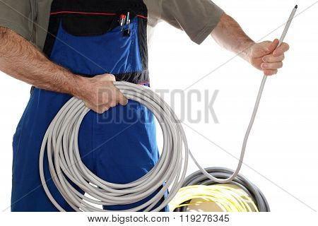 Electrician Is Holding A Wire
