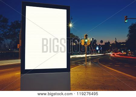 Clear Lightbox with night city on background