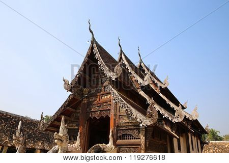 Wooden Sculpture On Ancient Buddhism Temple Gable