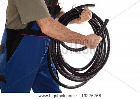 Electrical Worker With Pipe In Hand