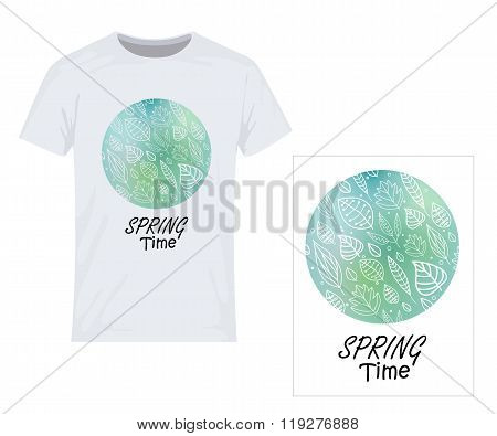 Spring Time. Vector Design For Printing On T-shirt