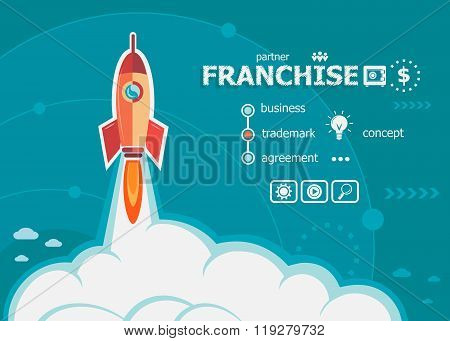 Franchise Design And Concept Background With Rocket.