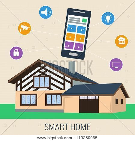 Concept smart house with control panel