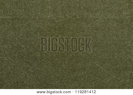 Speckled Textured Monochrome Background From Fabric Of Green Olive Color