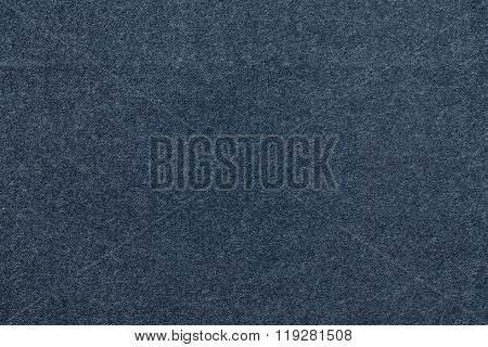 Speckled Textured Monochrome Background From Fabric Of Dark Blue Color