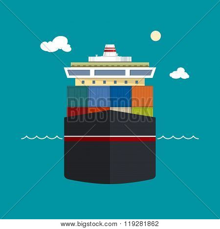 Cargo Container Ship,Front View