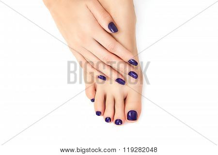Purple Manicure And Pedicure