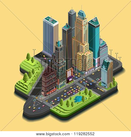 Vector isometric city map 3d skyscraper district part of icons