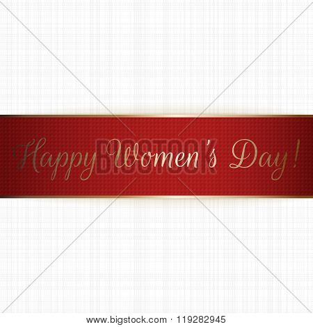 Happy Womens Day red realistic greeting Ribbon