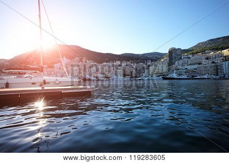 Sailing Ship In Marina Of Monte Carlo