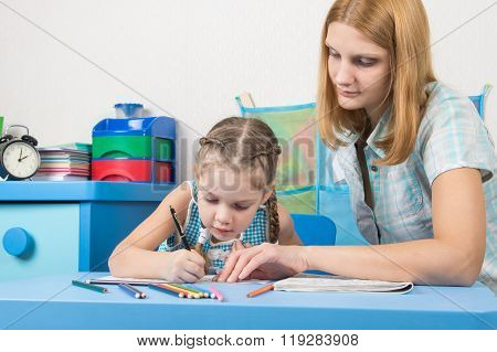 Girl Draws Interest On A Cliche, A Young Girl Helps Her