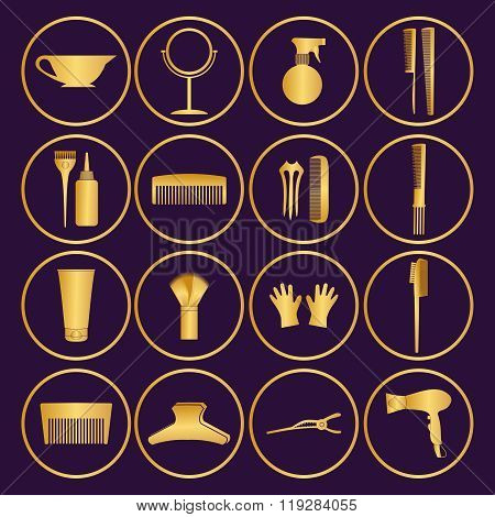 Hairdressing Related Symbol. Vector Set Of Accessories For Hair.hair Styling Tools Set. Black And Wh