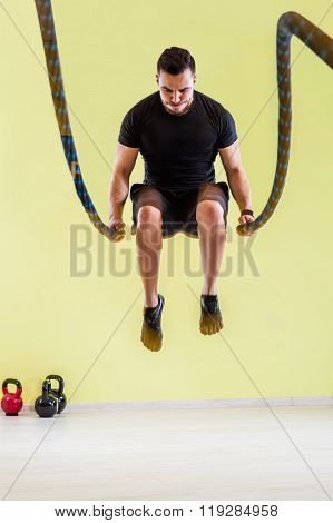 Fitness battling ropes at gym