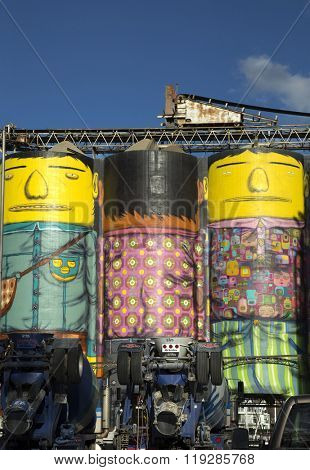 VANCOUVER-CANADA 16 february 2016:  This giants are a part of a series named Giants and made by Os Gemeos, brazilian artists.  Vancouver mural is the first in Canada and the only one in 3D.