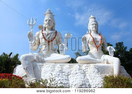 Shiva Parvathi statues on Kailasagiri hill in Andhra Pradesh state India