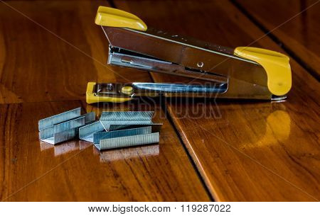 Stapler Is On The Wood