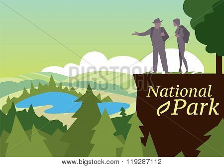 Backpackers hiking on the path of mountain. Hikers walking, outdoor camping.  Camping equipment. Leisure activities flat icon. Camping gear concept. Set of camping equipment symbols and icons. Active lifestyle. Outdoor journey symbol. Hiking concept. Camp