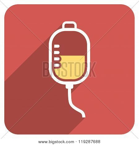 Therapy Dropper Flat Rounded Square Icon with Long Shadow